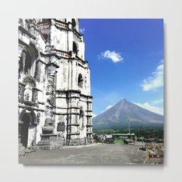 Mayon Volcano & the Old Church Metal Print