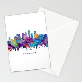 Los Angeles Skyline Colorful Watercolor Art Cityscape With City Name Los Angeles Cityscape Stationery Cards