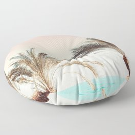 Modern California Vibes pink sky blue seascape tropical palm tree beach photography Floor Pillow