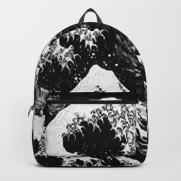 Black and White Great Wave Backpack