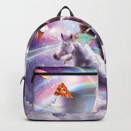Laser Eyes Space Llama On Sloth Unicorn - Rainbow Backpack