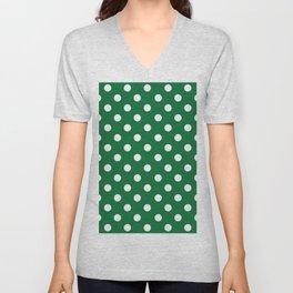 Polka Dots (White & Dark Green Pattern) Unisex V-Neck