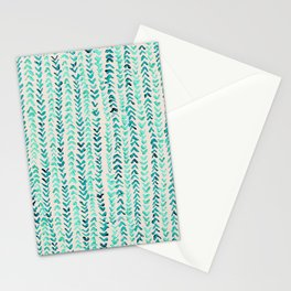 Hand Painted Herringbone Pattern in Mint Stationery Cards