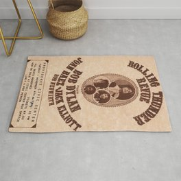 Very Rare Vintage 1975 Bob Dylan and Rolling Thunder Review Flyer - Poster Providence, Rhode Island Rug