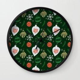 Retro Christmas Ornaments / Festive Holiday Tree / Snowflake / Mid Century Modern / Tree / Santa Wall Clock