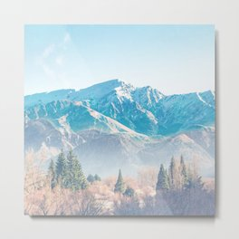 tundra powder blue muted mountain aesthetic landscape art altered photography Metal Print