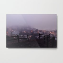 Foggy fences. Metal Print
