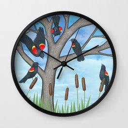 red winged blackbirds in the stained glass tree with cattails Wall Clock
