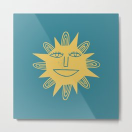 Cheerful Happy Sunshine Numero 3 Teal Metal Print