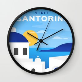 Santorini, Greece - retro travel poster #3 Wall Clock