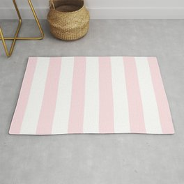 Simply Vertical Stripes Flamingo Pink on White Rug