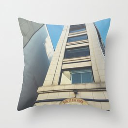 """""""Dog in the Park"""" Seattle Blue Throw Pillow"""