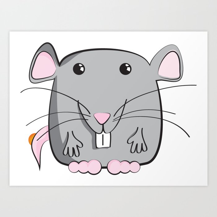 Cartoon Cute Mouse Art Print By Allenan Store Society6