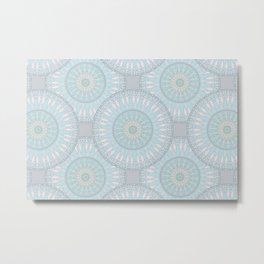 Mandala Design Aqua And Teal Blue Metal Print