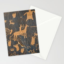 Petroglyphs on newspaper rock in Canyonlands national park, Utah, USA (Extraterrestrial Aliens design!) Stationery Cards
