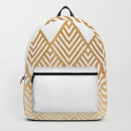 Geometric White & Gold Backpack