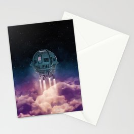 Out of the atmosphere / 3D render of spaceship rising above clouds Stationery Cards