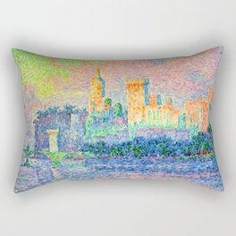 """Paul Signac """"The Papal Palace, Avignon"""" Rectangular Pillow"""