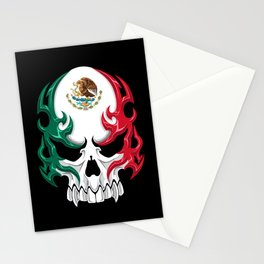 Mexico Flag - Mexican Skull Tribal Style Stationery Cards