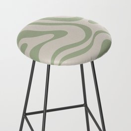 Liquid Swirl Abstract Pattern in Almond and Sage Green Bar Stool