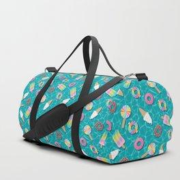 Sweet Treats Pool Floats Pattern – Turquoise Duffle Bag