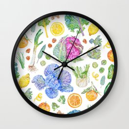 Winter Harvest Pattern White Wall Clock