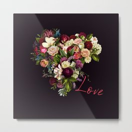Moody romantic red love script flowers heart shape on dark purple indigo Metal Print