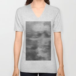 Smokey Mist (Gray) Illustration, Digital Watercolor Camo Blend - Fluid Art Unisex V-Neck