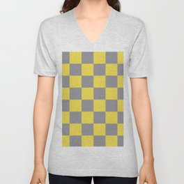 Large Checkerboard Pattern Pantone 2021 Color Of The Year Illuminating and Ultimate Gray  Unisex V-Neck