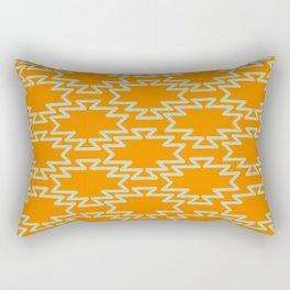 Southwest Azteca - Southwestern Geometric Pattern in Aqua and Orange Rectangular Pillow
