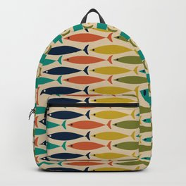 Midcentury Modern Multicolor Fish Stripe Pattern in Olive, Mustard, Orange, Teal, Beige Backpack