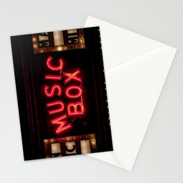 The Music Box Neon Sign Chicago Illinois Arthouse Theatre Vintage Cinema Movie House Theater Stationery Cards