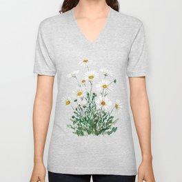 white Margaret daisy watercolor Unisex V-Neck