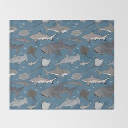 Sharks and Rays Throw Blanket