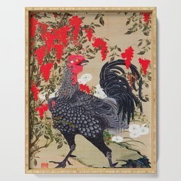 Ito Jakuchu - Heavenly bamboo and Rooster - Digital Remastered Edition Serving Tray