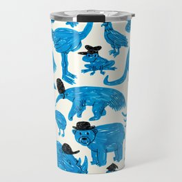 Blue Animals Black Hats Travel Mug