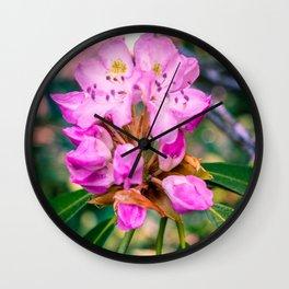 Rhododendron Mountain Flower Purple Macro Print Wall Clock