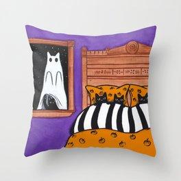 Halloween Scaredy Cats Throw Pillow