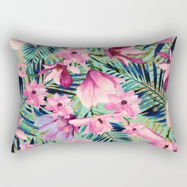 Tropical pink lavender aqua gold watercolor floral Rectangular Pillow
