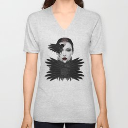 Weeping Gaia / Dark Angel Goddess Modern Feminine Art Unisex V-Neck