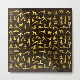 Gold Yoga Asanas / Poses pattern Metal Print