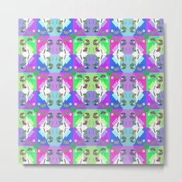 Chequered Rainbow Blue Candy Kaleidoscope Memphis Design Metal Print