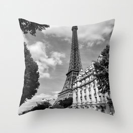 Eiffel Tower, Paris, France black and white photograph Throw Pillow
