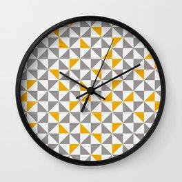 MID CENTURY MODERN Geometric Pattern Yellow Brown and cream Wall Clock