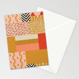 Color Block Patch Work Salmon Stationery Cards