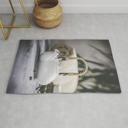 Tea set and spa settings on concrete background. Natural spa treatment and relaxation concept Rug