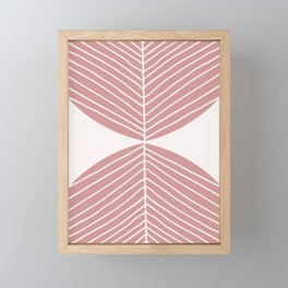 Soft Pink Minimal Fall Leaf Framed Mini Art Print