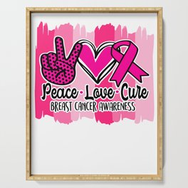 pEace Love Cure Breast Cancer Awareness Pink Ribbon Serving Tray