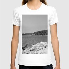 coastline bay at summer pula croatia istria black white T-shirt