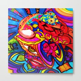 Abstract Nature Painted Collage Heart Metal Print